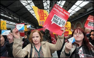 A GROUP of pro-choice campaigners took banned abortion pills after travelling over the Border by train to collect them from the North.
