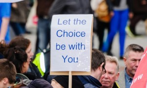 A pro-choice abortion campaigner in Belfast, Northern Ireland. The United Nations has denounced Northern Ireland's ban on most abortions. Photograph: Alamy