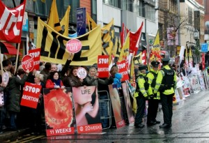 An anti-abortion demonstration in Belfast in 2012. Photo: Peter Muhly/AFP/Getty Images