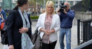 Sarah Ewart arrives at court as a judicial review into Northern Ireland's abortion laws begins in the High Court in Belfast. Photograph: Colm Lenaghan/Pacemaker